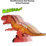 "New! 13"" Tyrannosaurus Rex Walking Dinosaur Toys for Boys and Girls – Roaring, Walking, and Glowing Electric T Rex"