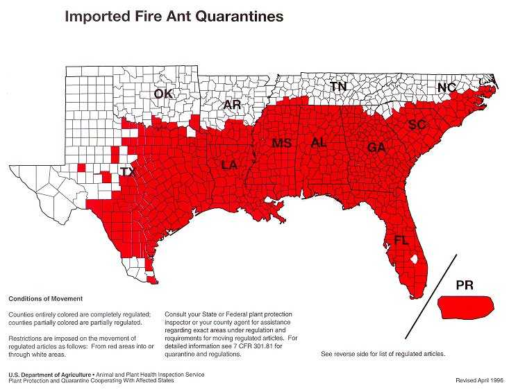 USA Fire Ant Quarantine Map