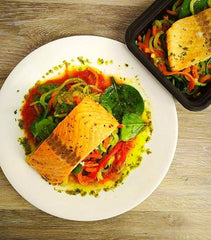 salmon dinner from Live Fit Foods meal service
