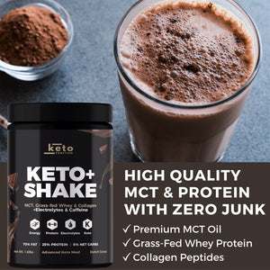 NEW! Keto+ Shake Low-Carb High Fat Keto Meal Replacement - Dutch Cocoa