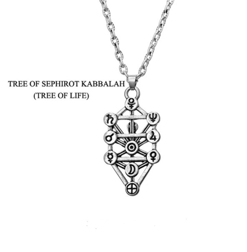 Egyptian Isis Caduceus Blueprint of 7 Chakras Tree of Life 2D Sacred Geometry Silver Plated Pendant