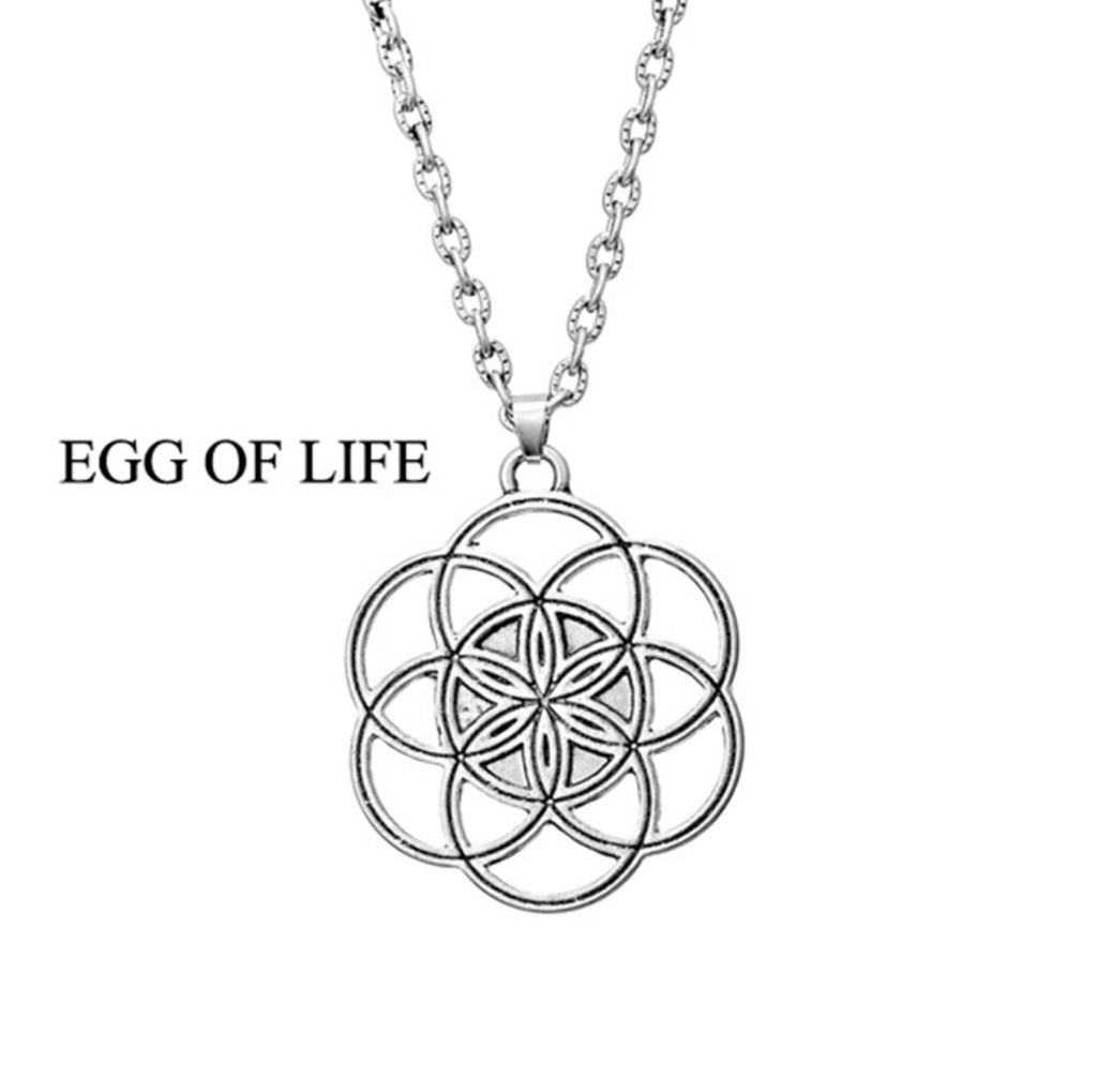 Egg Seed of Life Mandala Silver Plated Pendant, Pendant, Merkaba Chakras - Metaphysic Products, Services, & Accessories Store