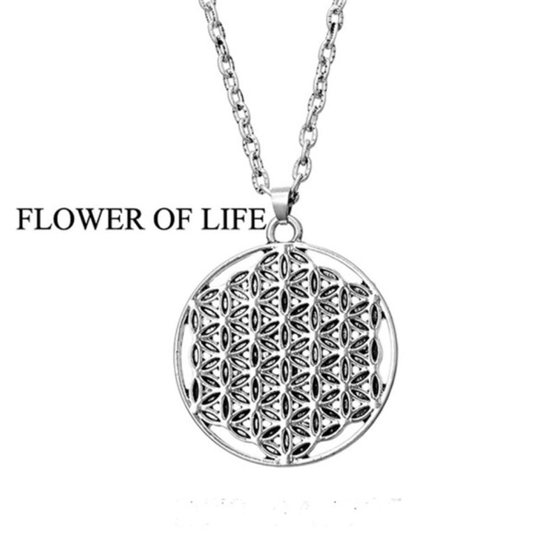 Flower of Life 2D Sacred Geometry Merkaba Mandala Silver Plated Necklace