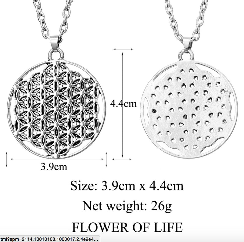 Flower of Life 2D Sacred Geometry Merkaba Mandala Silver Plated Necklace, Pendant, Merkaba Chakras - Metaphysic Products, Services, & Accessories Store