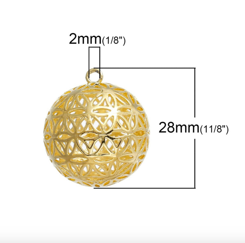 Flower Of Life 3D Charm Pendants Round Gold Color, Pendant, Merkaba Chakras - Metaphysic Products, Services, & Accessories Store