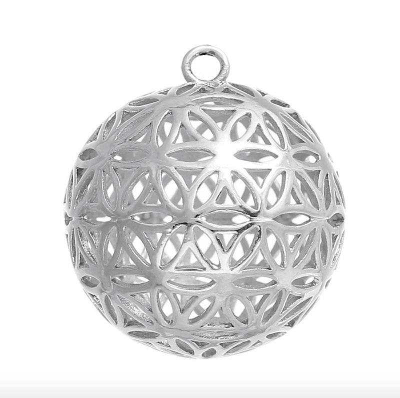 Flower of Life 3D Charm Pendants Round Silver Color, Pendant, Merkaba Chakras - Metaphysic Products, Services, & Accessories Store