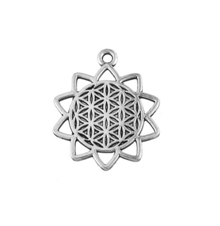 Closed Background Small Lotus Flower of Life Sacred Geometry Pendant