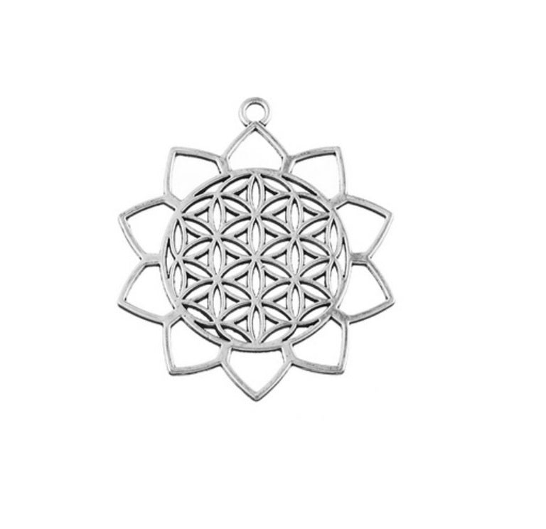Open Background Lotus Flower of Life Sacred Geometry Background Pendant