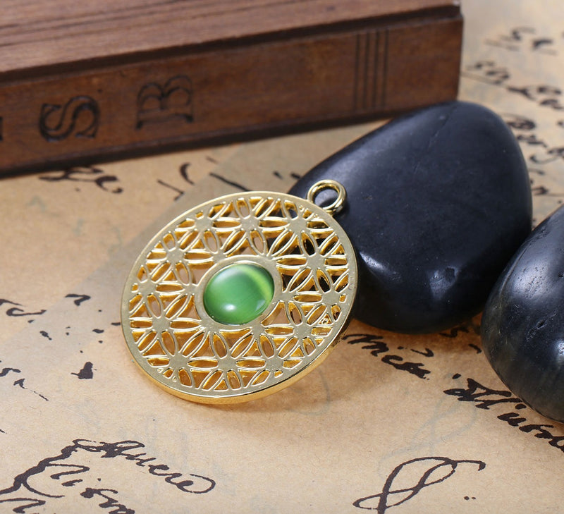 Flower of Life 2D Round Gold Color Green Resin Cat's Eye Pendant