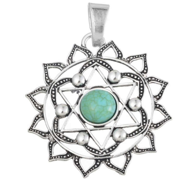 Buddhist Lotus Flower 2D Star of David Sacred Geometry Mandala Green Resin Center Stone Silver Plated Pendant