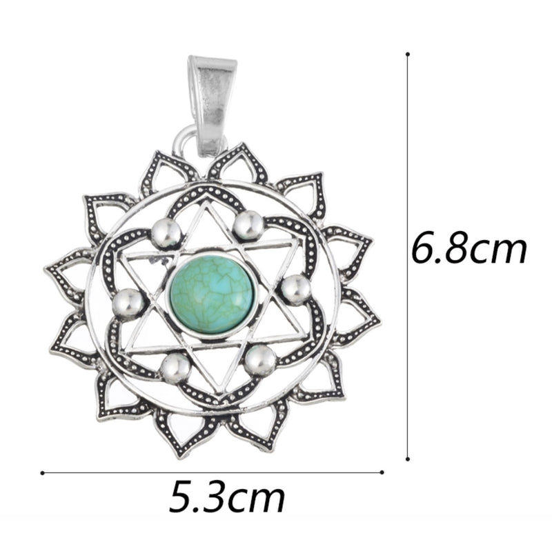 Buddhist Lotus Flower 2D Star of David Sacred Geometry Mandala Green Resin Center Stone Silver Plated Pendant, Pendant, Merkaba Chakras - Metaphysic Products, Services, & Accessories Store