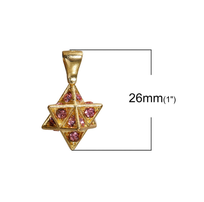 Merkaba 3D Star of David Mandala Blue Pink Rhinestone Gold-Colored Copper Pendant, Pendant, Merkaba Chakras - Metaphysic Products, Services, & Accessories Store