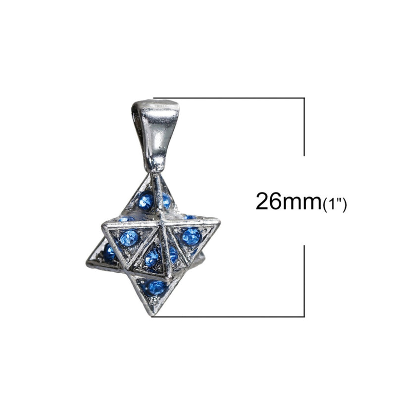 Merkaba 3D Star of David Mandala Blue Pink Rhinestone Silver-Colored Copper Pendant, Pendant, Merkaba Chakras - Metaphysic Products, Services, & Accessories Store