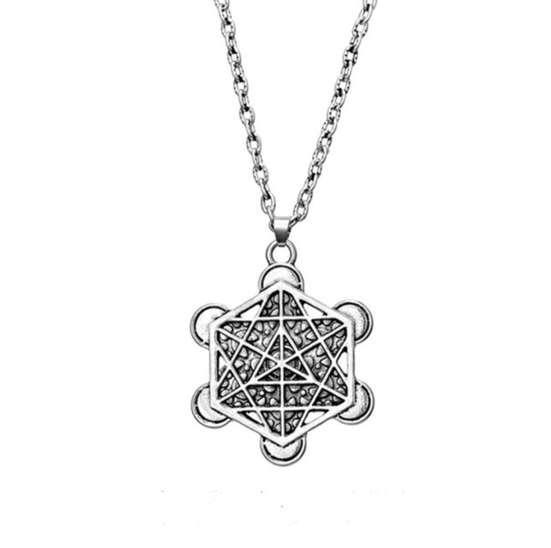 Archangel Metatron's Cube 2D Six Pointed Star Sacred Geometry Merkaba Mandala Silver Plated Pendant