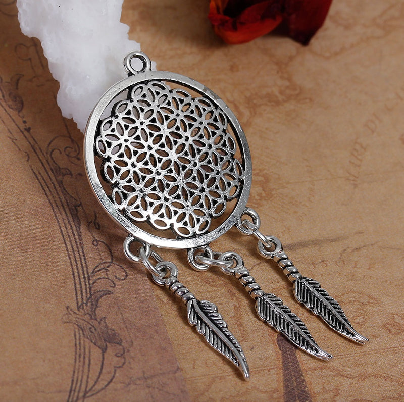 Native American Flower of Life Charm Pendant, Pendant, Merkaba Chakras - Metaphysic Products, Services, & Accessories Store