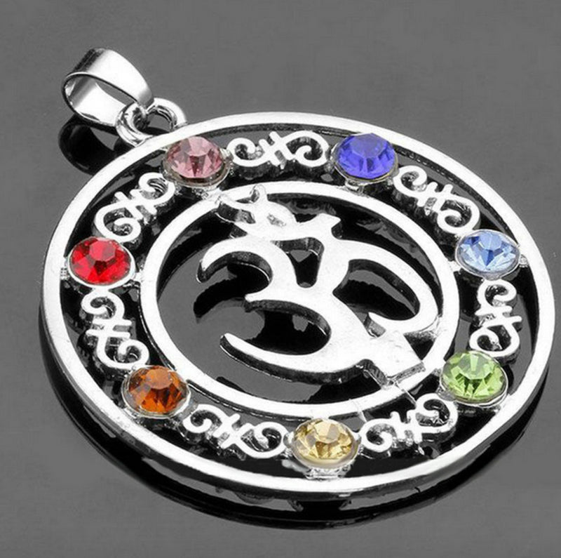 Om Mani Padme Hum Yoga Reiki 7 Chakras Rhinestone Beads Pendant, Pendant, Merkaba Chakras - Metaphysic Products, Services, & Accessories Store