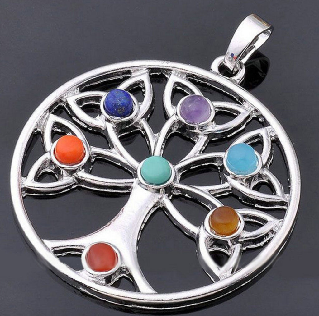 Reiki 7 Chakra Healing Tree of Life With Flower of Life Leaflets Resin Beads Pendant, Pendant, Merkaba Chakras - Metaphysic Products, Services, & Accessories Store