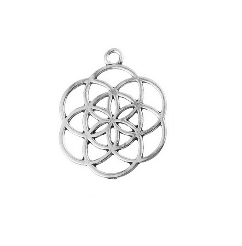 Seed of Life 2D Zinc Alloy Unisex Talisman Sacred Geometry Pendant, Jewelry, Merkaba Chakras - Metaphysic Products, Services, & Accessories Store