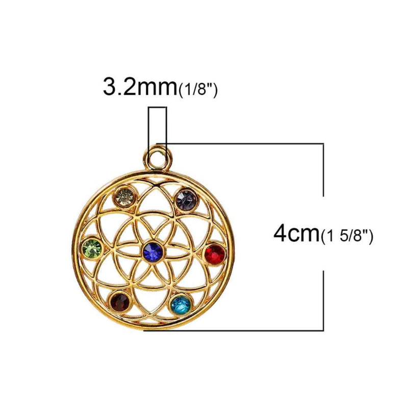 Seed of Life 7 Chakras Rhinestone Activation Gold-Colored Pendant, , Merkaba Chakras - Metaphysic Products, Services, & Accessories Store