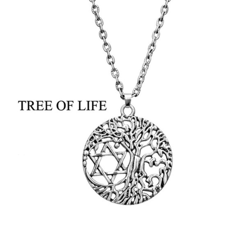 Tree of Life 2D Star of David Sacred Geometry Merkaba Mandala Silver Plated Necklace