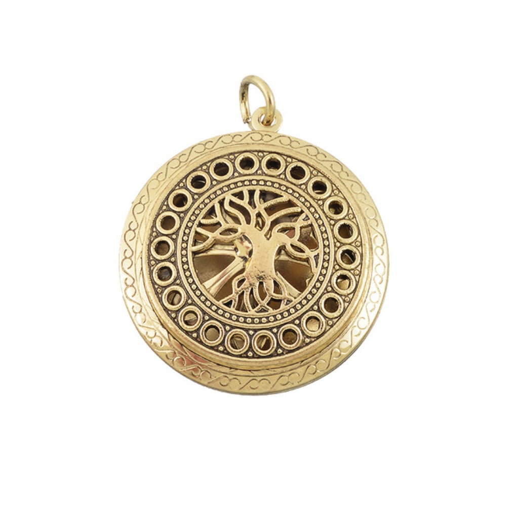 Tree of Life Sacred Geometry DNA Keepsake Photo Frame Locket Gold Color Pendant, Pendant, Merkaba Chakras - Metaphysic Products, Services, & Accessories Store