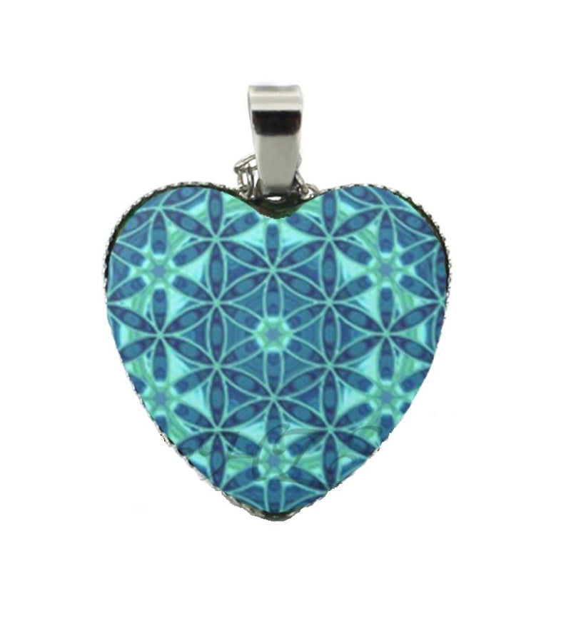 Flower of Life Blue Pattern Heart Pendant Necklace, , Merkaba Chakras - Metaphysic Products, Services, & Accessories Store