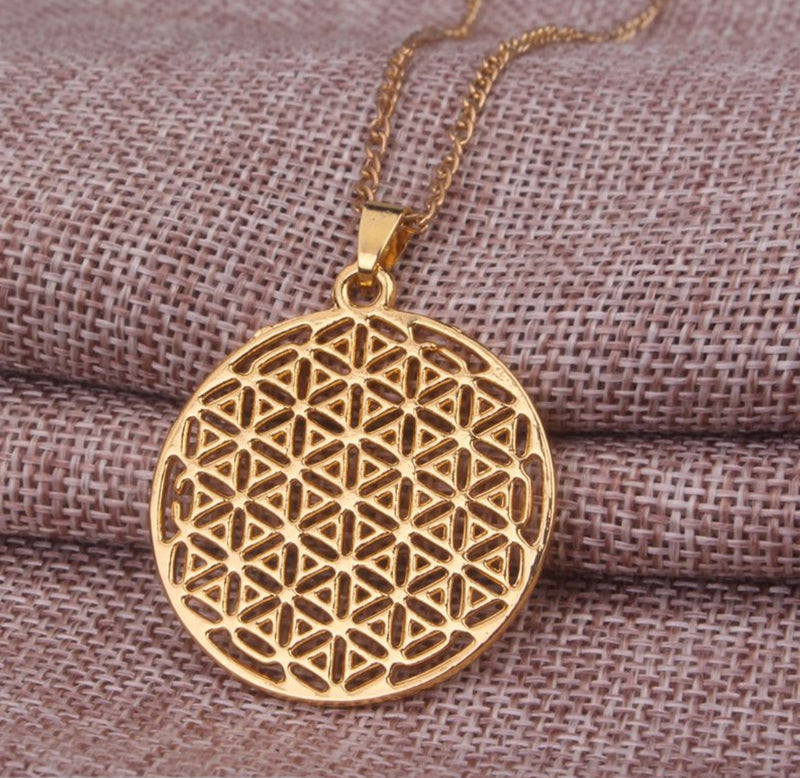 2D Flower of Life Sacred Geometry Top View Gold-Colored Pendant Necklace, , Merkaba Chakras - Metaphysic Products, Services, & Accessories Store