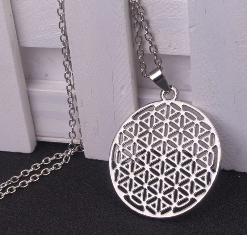 2D Flower of Life Sacred Geometry Top View Silver-Colored Pendant Necklace, , Merkaba Chakras - Metaphysic Products, Services, & Accessories Store