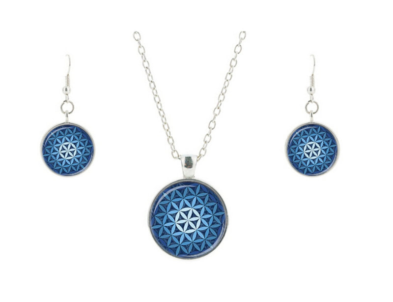 Nautical Flower of Life Mandala Glass Cabochon Necklace Earrings Set, , Merkaba Chakras - Metaphysic Products, Services, & Accessories Store