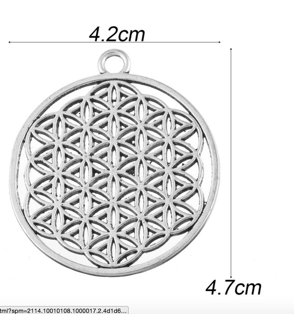 Flower of Life 2D Silver Alloy Pendant, , Merkaba Chakras - Metaphysic Products, Services, & Accessories Store