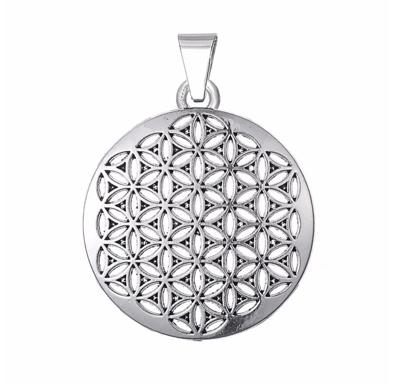 Egyptian Flower of Life Round Edge Shaped Pendant, , Merkaba Chakras - Metaphysic Products, Services, & Accessories Store