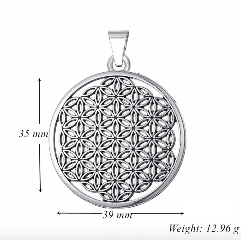 Egyptian Flower of Life Flat Edge Shaped Pendant, , Merkaba Chakras - Metaphysic Products, Services, & Accessories Store