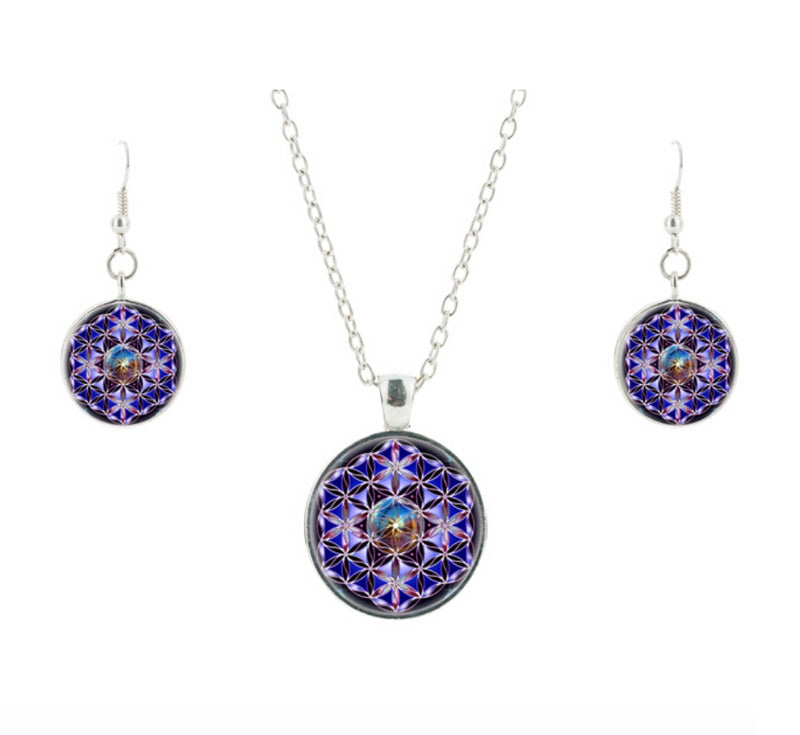 Flower of Life Om High Frequency 2D Mandala Glass Cabochon Necklace Earrings Set, , Merkaba Chakras - Metaphysic Products, Services, & Accessories Store