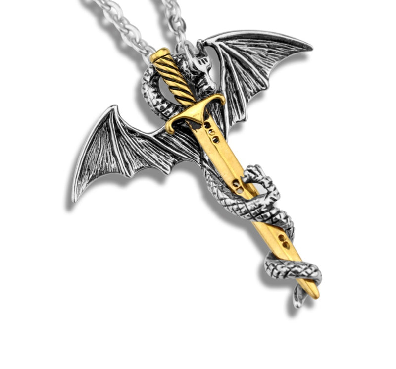 Dragon Holding Merlin's Sword Pendant Necklace, , Merkaba Chakras - Metaphysic Products, Services, & Accessories Store