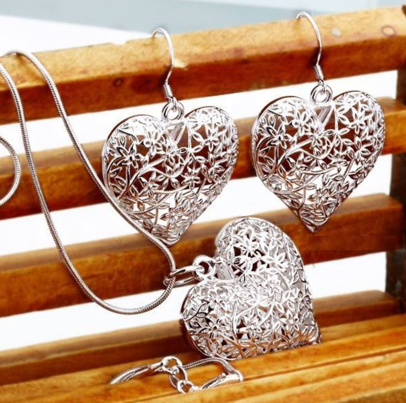 Flower of Life Abstract Heart Silver Plated Necklace Earrings Set, , Merkaba Chakras - Metaphysic Products, Services, & Accessories Store