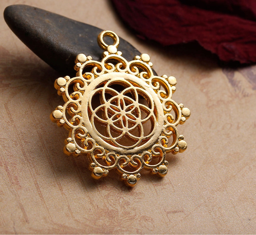Lotus Flower Seed of Life Sacred Geometry Hindu Gold-Colored Pendant, Pendant, Merkaba Chakras - Metaphysic Products, Services, & Accessories Store