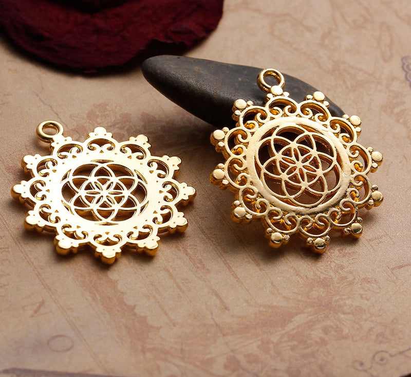 Lotus Flower Seed of Life Sacred Geometry Hindu Gold-Colored Pendant