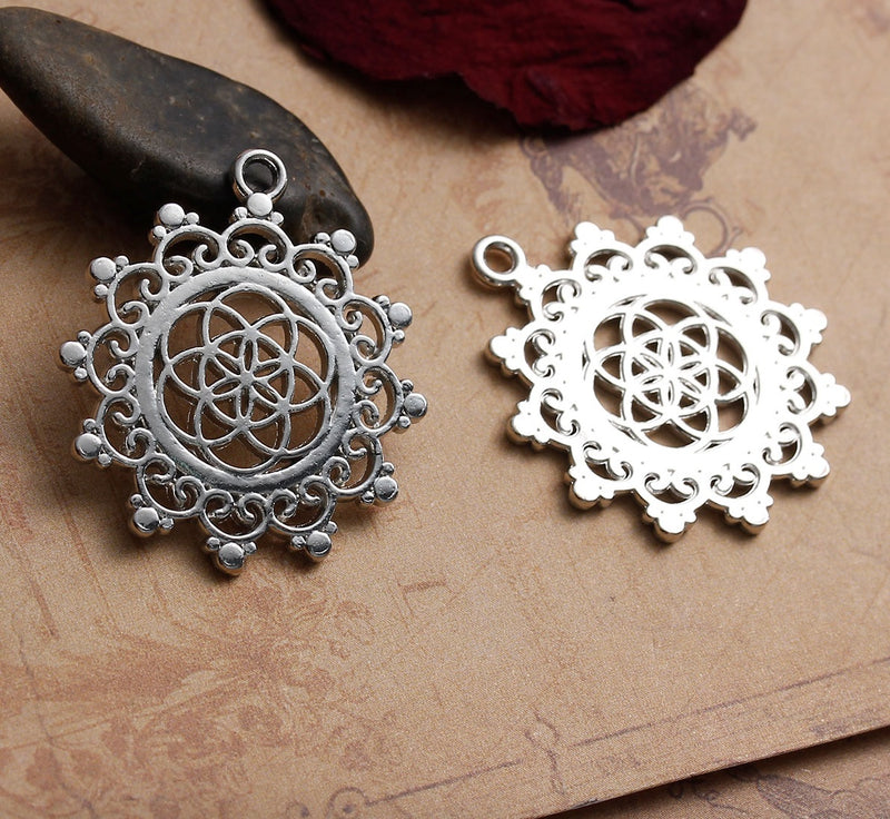 Lotus Flower Seed of Life Sacred Geometry Hindu Silver-Colored Pendant, Pendant, Merkaba Chakras - Metaphysic Products, Services, & Accessories Store