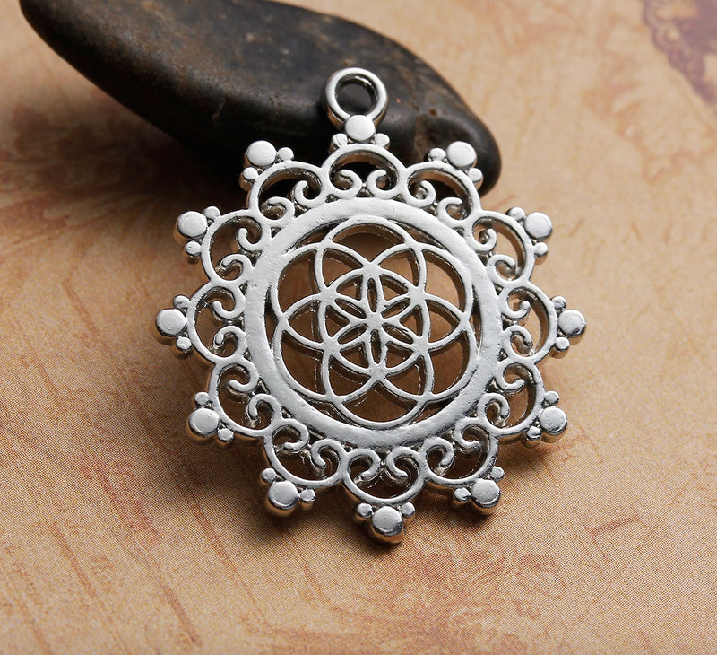 Lotus Flower Seed of Life Sacred Geometry Hindu Silver-Colored Pendant