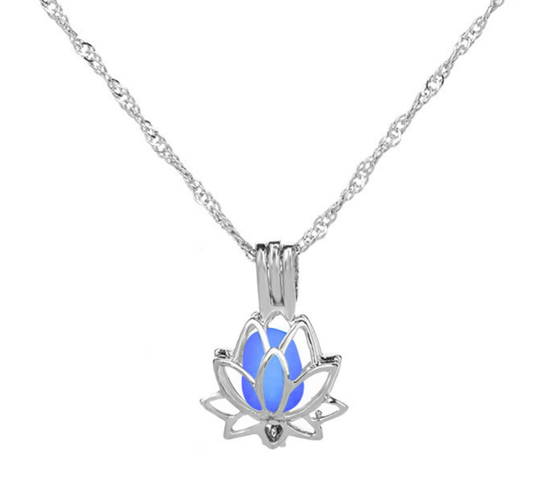 Buddhist Glow in the Dark Lotus Pendant Necklace, , Merkaba Chakras - Metaphysic Products, Services, & Accessories Store
