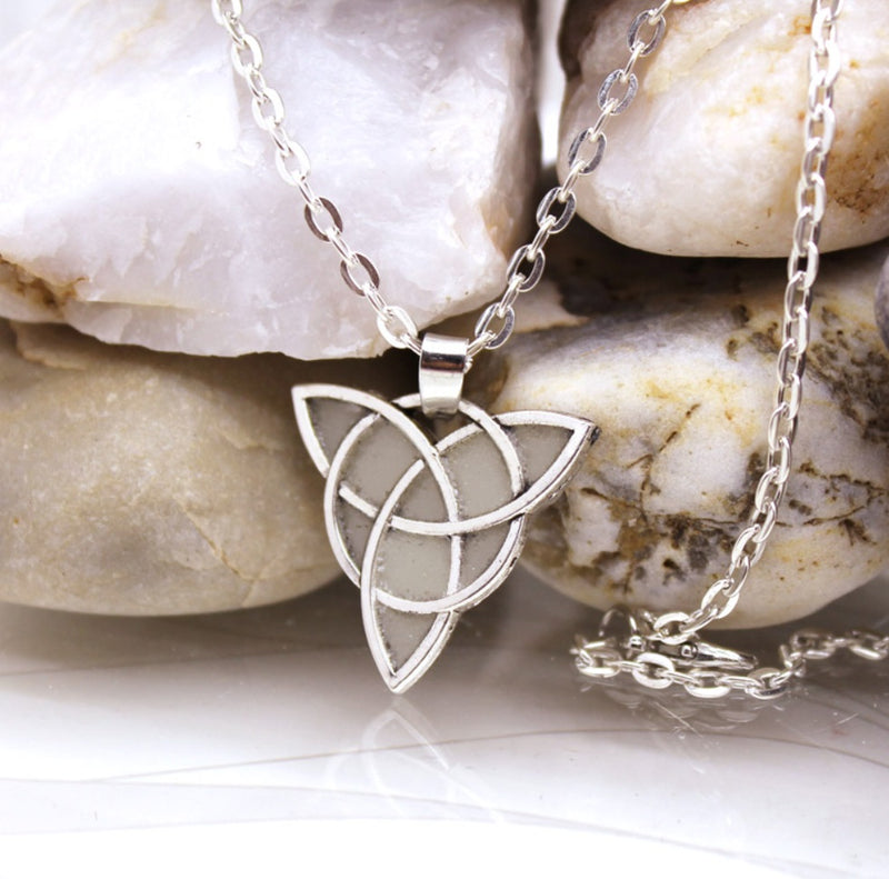 Celtic Trinity Flower of Life Sacred Geometry Luminous Silver-Plated Necklace, , Merkaba Chakras - Metaphysic Products, Services, & Accessories Store