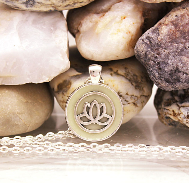Yoga Chakra Kwan Yin Lotus Meditation Luminous Silver-Plated Necklace, , Merkaba Chakras - Metaphysic Products, Services, & Accessories Store
