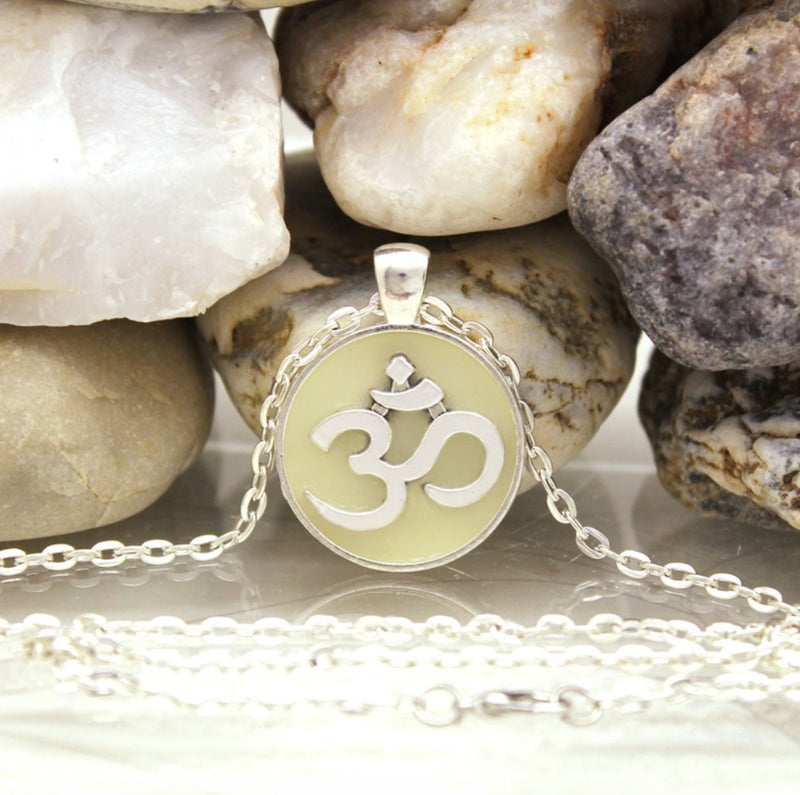 Luminous Yoga Om Mani Padme Hum Buddhist Silver-Plated Necklace, , Merkaba Chakras - Metaphysic Products, Services, & Accessories Store