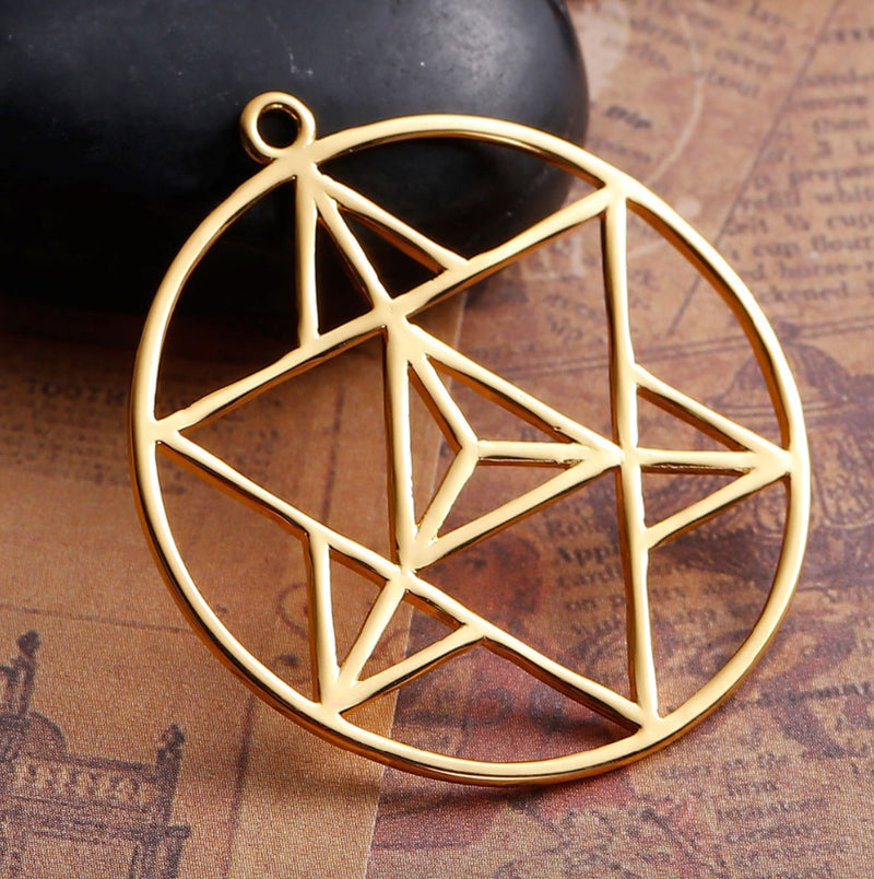 6-Pointed Tetrahedron Star of David Merkaba Ascension Mandala Gold-Colored Pendant, , Merkaba Chakras - Metaphysic Products, Services, & Accessories Store