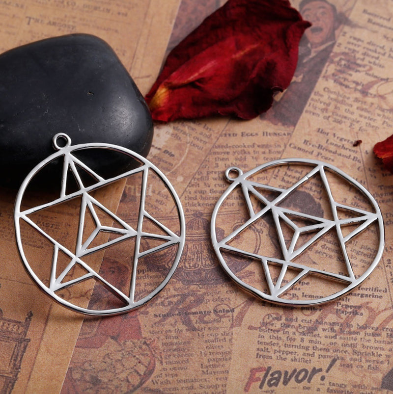 6-Pointed Tetrahedron Star of David Merkaba Ascension Mandala Silver-Colored Pendant, , Merkaba Chakras - Metaphysic Products, Services, & Accessories Store
