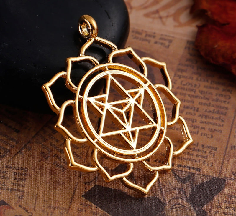 Merkaba Intersecting 6-Pointed Star Ascension in Lotus Gold-Colored Pendant, , Merkaba Chakras - Metaphysic Products, Services, & Accessories Store