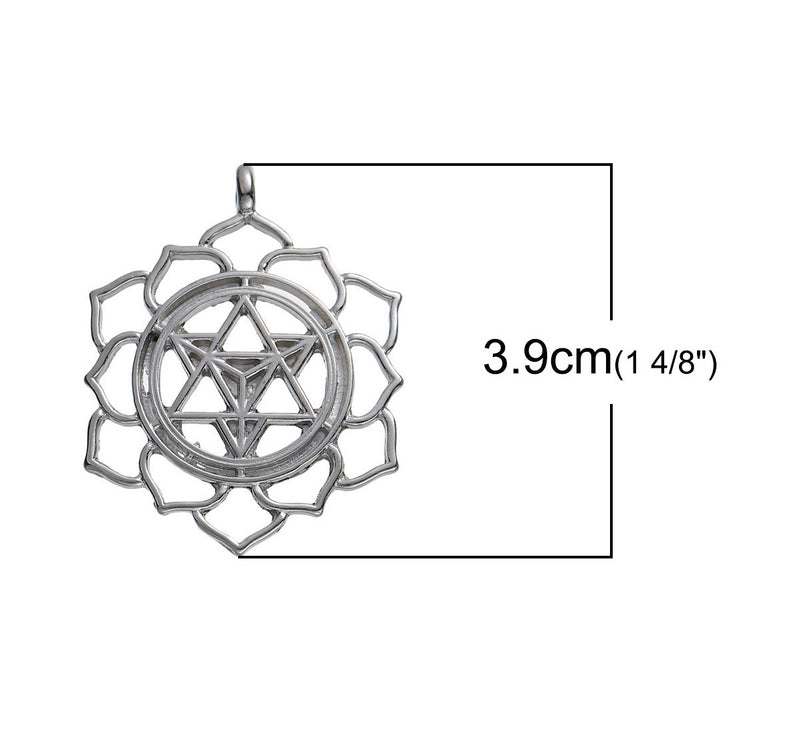 Merkaba Intersecting 6-Pointed Star Ascension in Lotus Silver-Colored Pendant, , Merkaba Chakras - Metaphysic Products, Services, & Accessories Store