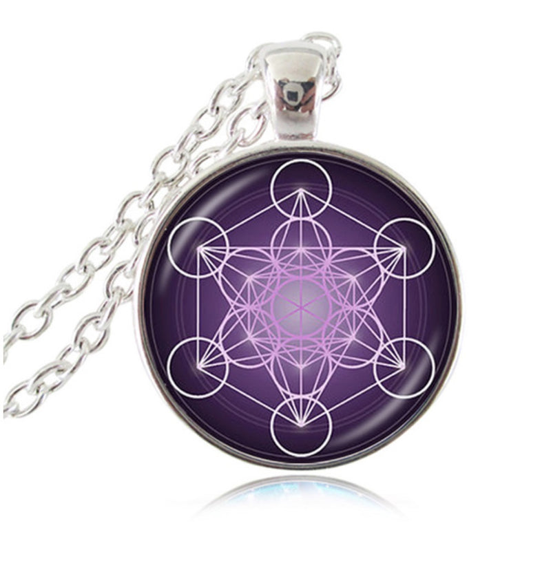 Archangel Metatron's Cube Indigo Flower of Life Sacred Geometry Glass Dome Pendant Necklace, , Merkaba Chakras - Metaphysic Products, Services, & Accessories Store