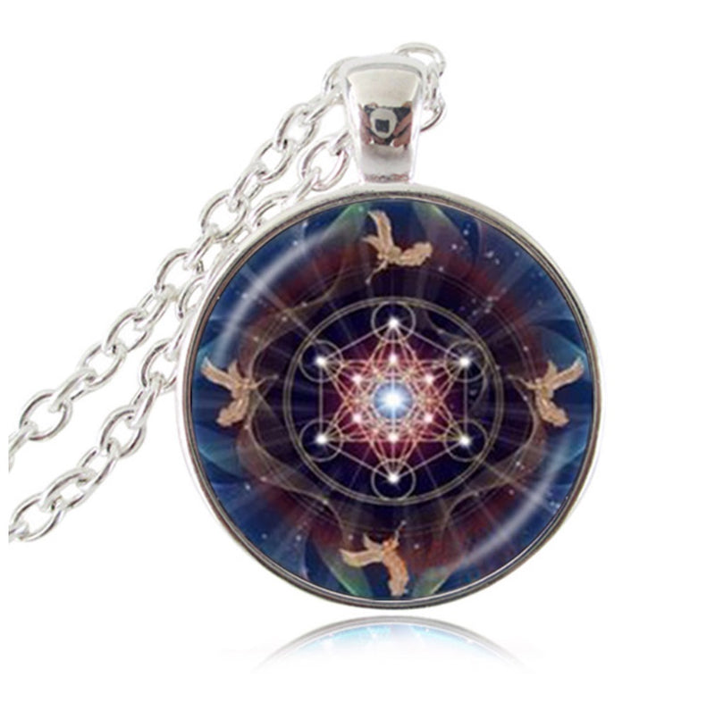 Trumpet Playing Angels Around Archangel Metatron's Cube Indigo Flower of Life Pendant Necklace, , Merkaba Chakras - Metaphysic Products, Services, & Accessories Store