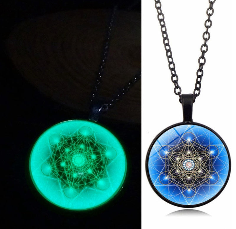 Archangel Metatron's Cube Glow in the Dark Pendant Necklace, , Merkaba Chakras - Metaphysic Products, Services, & Accessories Store